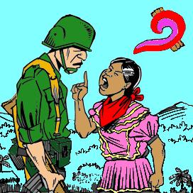 Cartel del Primer Encuentro Hemisférico frente a la Militarización, celebrado en Chiapas en Mayo de 2003