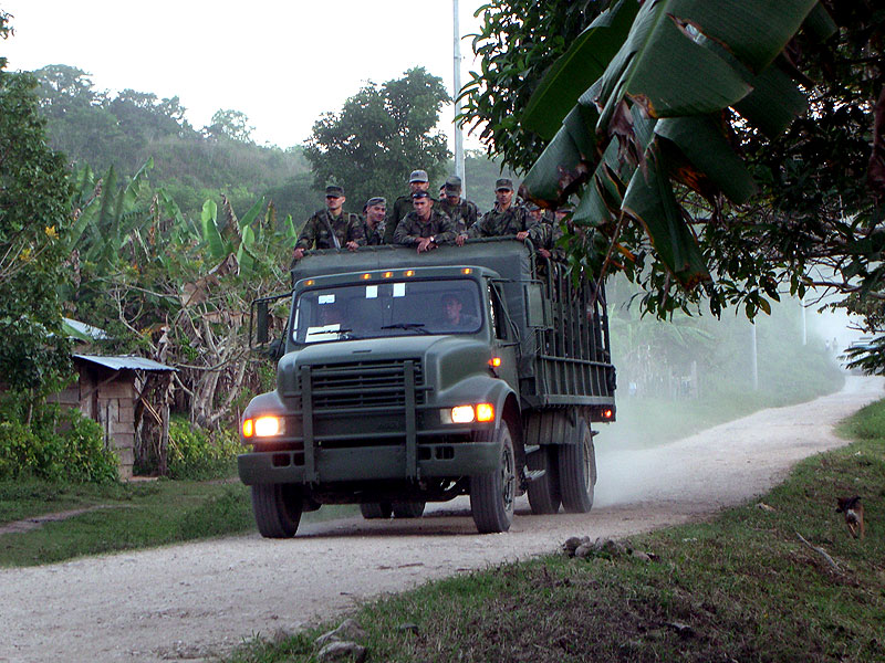 Military vehicle in the Community of Zapata, Municipal of San Manuel, Chiapas © SIPAZ