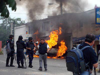 Uno de los incendios en Oaxaca, el día 16 de julio © Oaxaca en Pie de Lucha