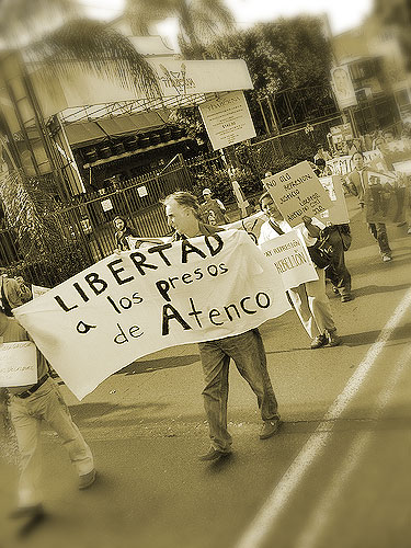 Demonstration for the release of the Atenco detainees