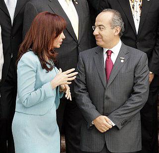Cristína Fernández de Kirchner and Felipe Calderón Hinojosa during the Mexican president's trip to Argentina © El Siglo de Torreón