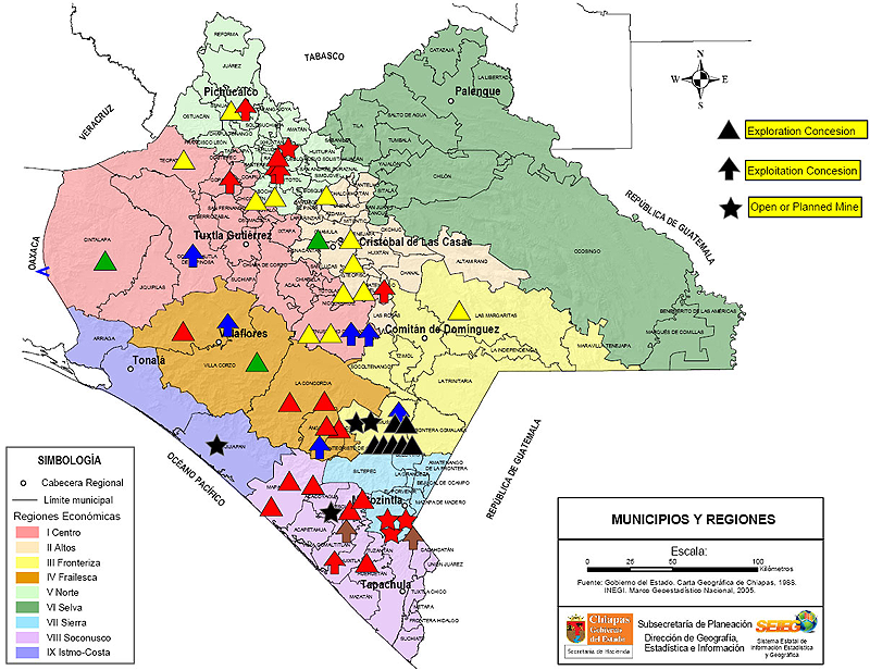 Mapa de las concesiones mineras en Chiapas