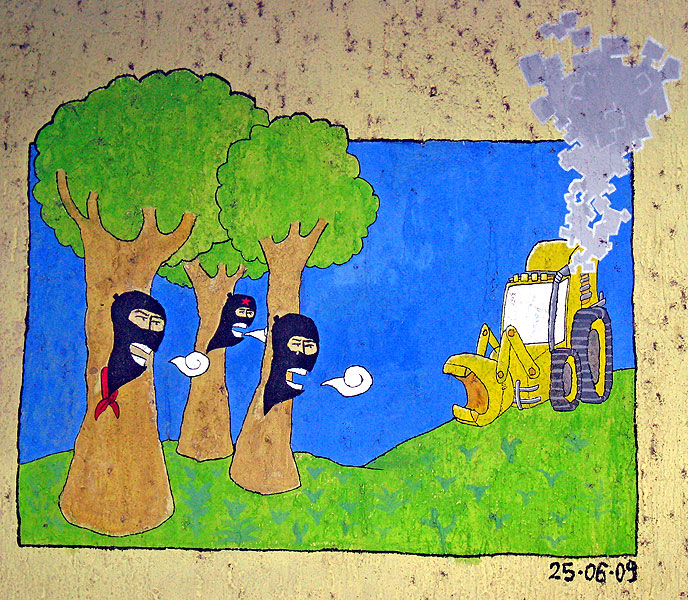 "Mural illustrating zapatista opposition to ""development"" projects in Agua Clara © SIPAZ"