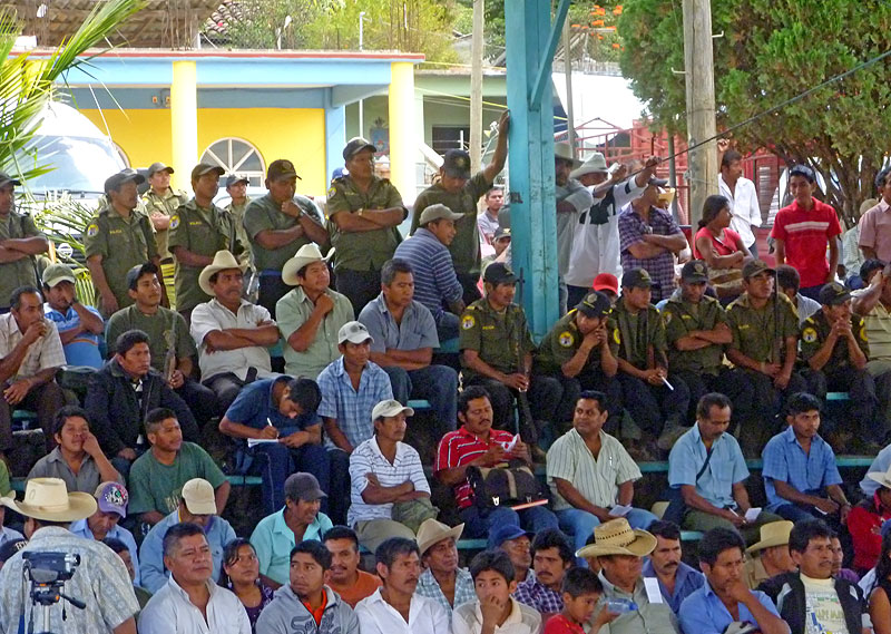 First general assembly of the people on the mineral exploration at Colombia de Guadalupe community, Montaña de Guerrero, February 2011 © SIPAZ