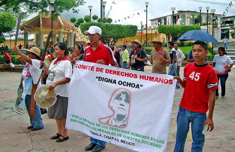 Banner of the Digna Ochoa Center for Human Rights, for the defense of the human rights of the most vulnerable in our society, Tonalá, Chiapas, Mexico © lavozdelanahuac