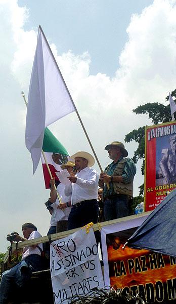 Javier Sicilia durante la Caravana Ciudadana por la Paz con Justicia y Dignidad, Agosto 2011 © SIPAZ