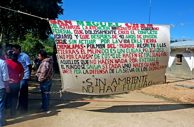 """""""Unite for the defense of the Chimalapas Jungle,""""banner in San Miguel Chimalapa, November 2011 © Koman Ilel"""