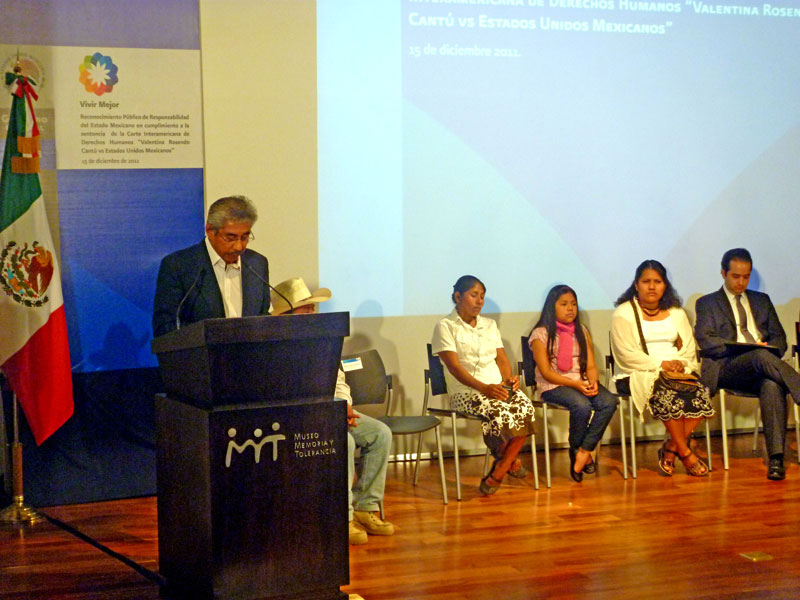 Acto de reconocimiento de responsabilidad del Estado mexicano en el caso de Valentina Rosendo Cantú © SIPAZ