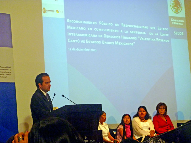 Act of recognition of the responsibility of the Mexican State in the case of Valentina Rosendo Cantú © SIPAZ