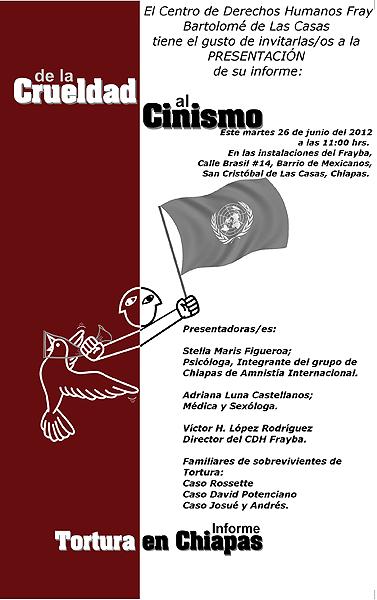 """Invitación a la conferencia de prensa para presentar el informe """"De la crueldad al cinismo"""" © CDHFBC"""