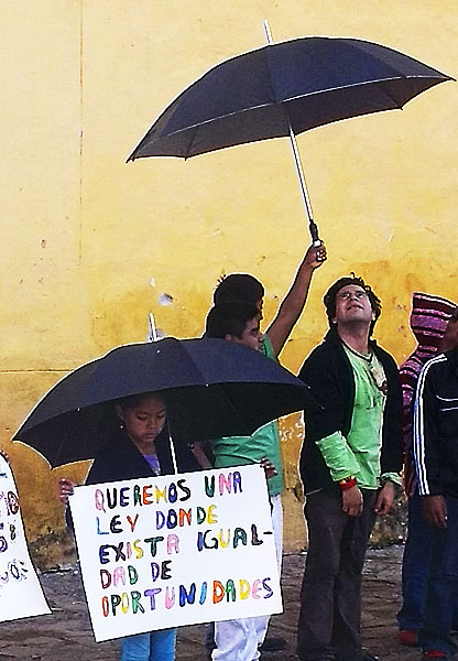 """We want a law with equality of opportunity "" Protest against the new general law on children  rights , San Cristobal de Las Casas, September 24, 2014 © SIPAZ"