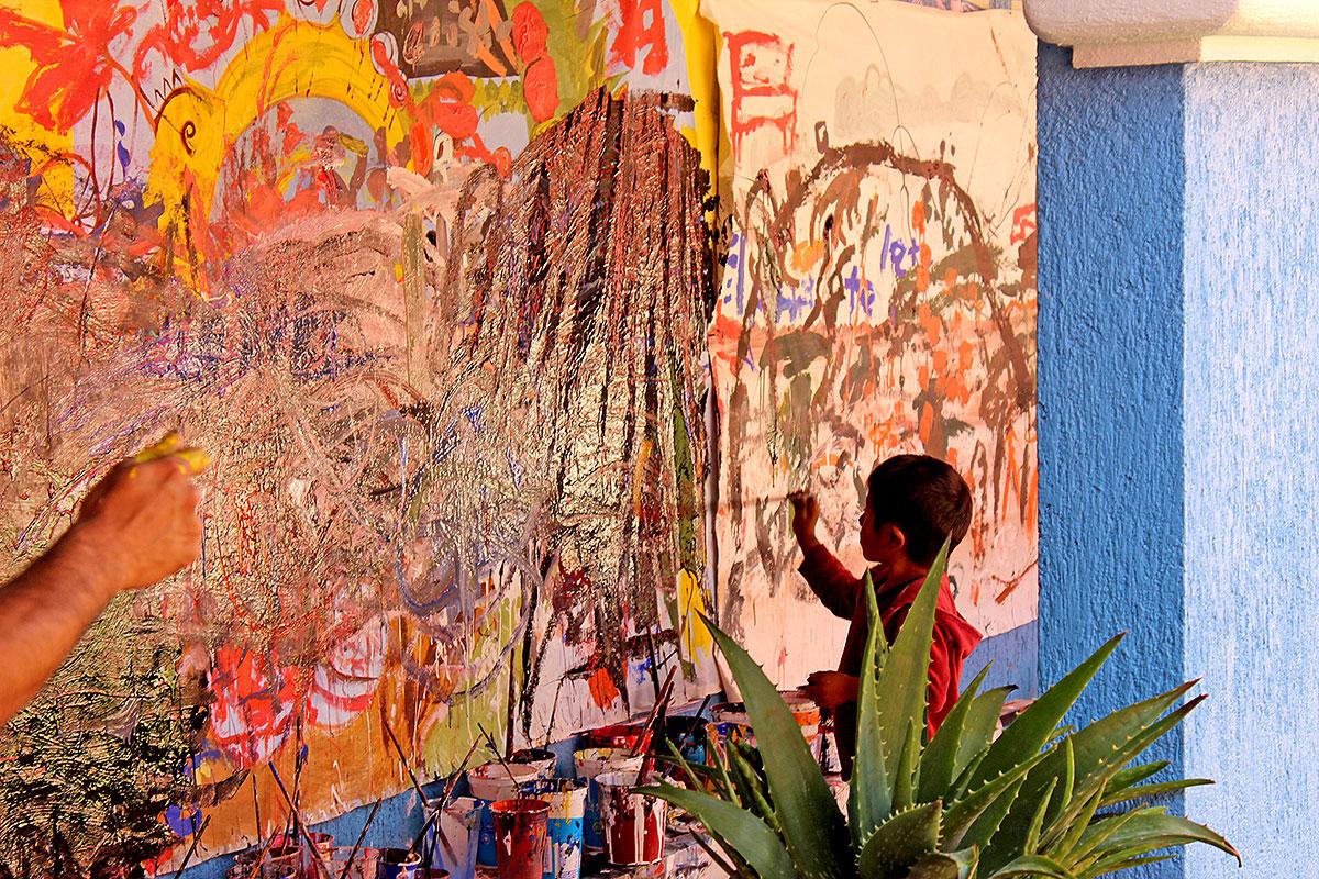 """""""El desastre"""", manta dibujada en el marco del XX° Aniversario de SIPAZ © SIPAZ"""