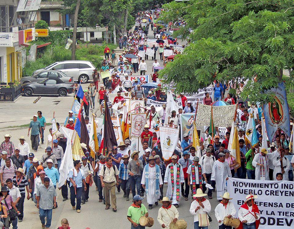Peregrinación del Movimiento Indígena del Pueblo Creyente Zoque en Defensa de la Vida y la Tierra en Tuxtla Gutiérrez, junio de 2017 © SIPAZ