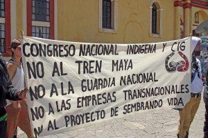 """""""No al Tren Maya"""", una de las demandas del Congreso Nacional Indígena © CNI"""