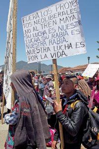 Non au Train Maya, manifestation du Congrs National Indigène (CNI) au Chiapas © SIPAZ